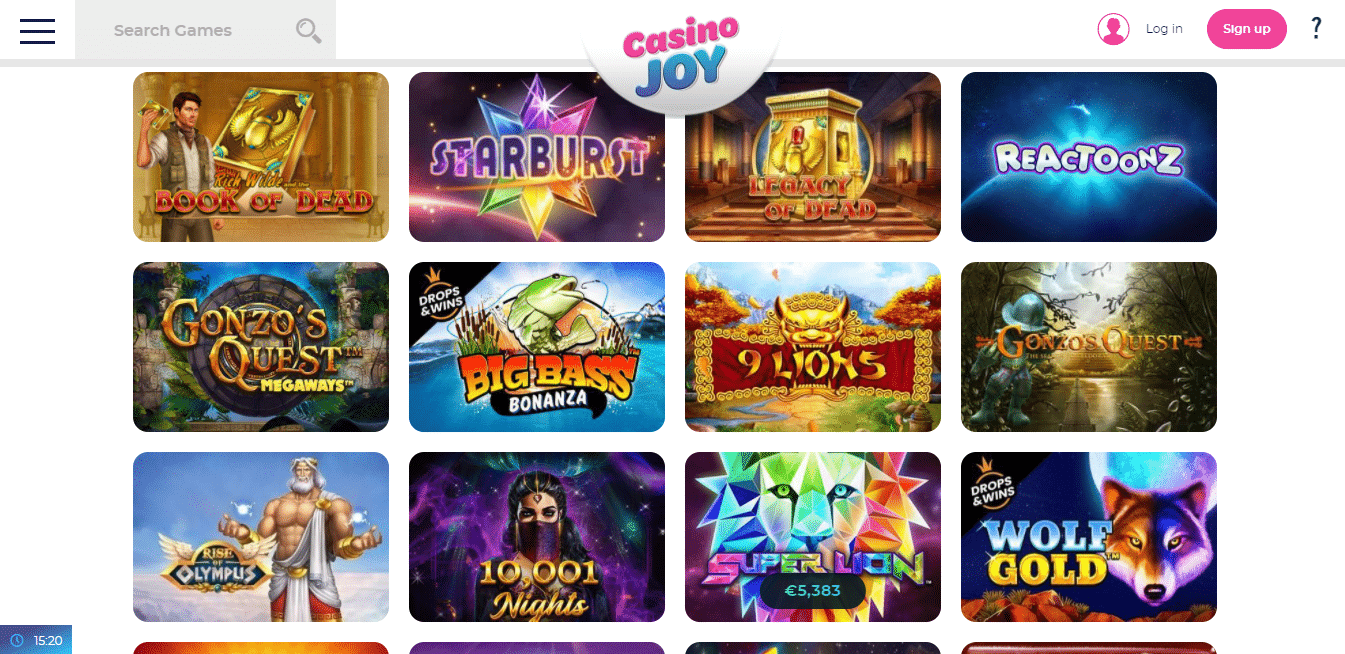 Casino Joy Game Selection