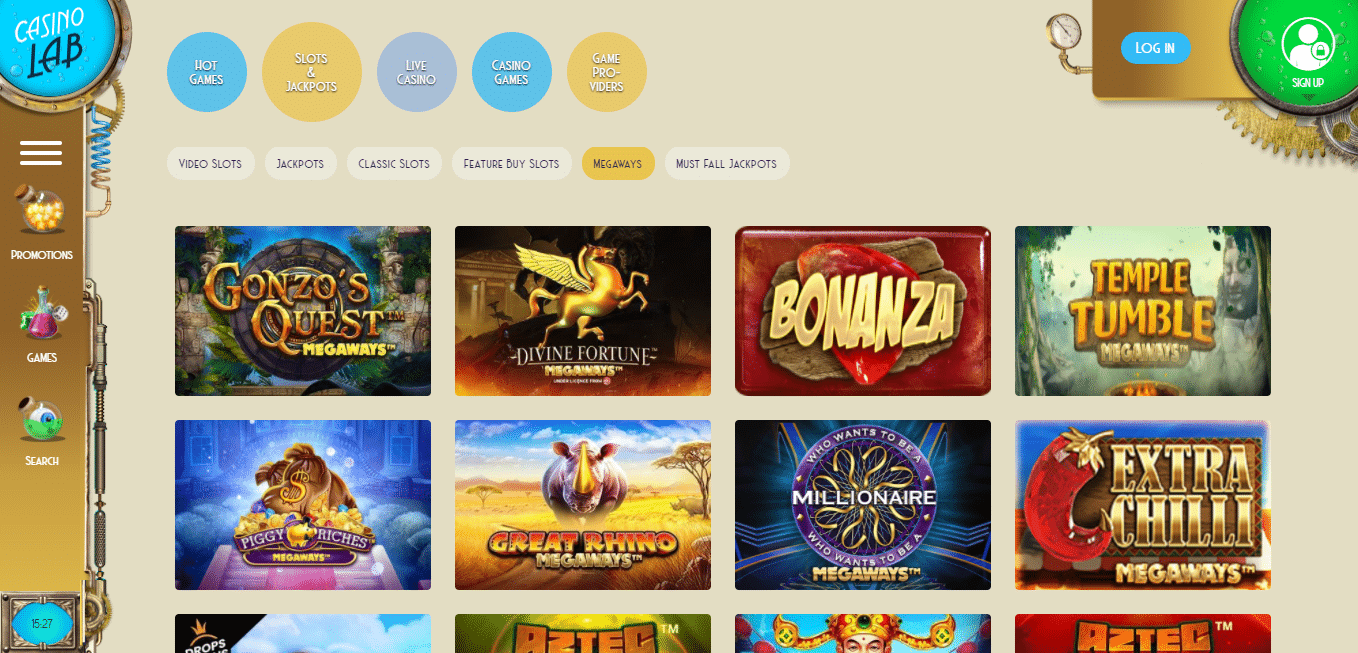 Casino Lab Game Selection