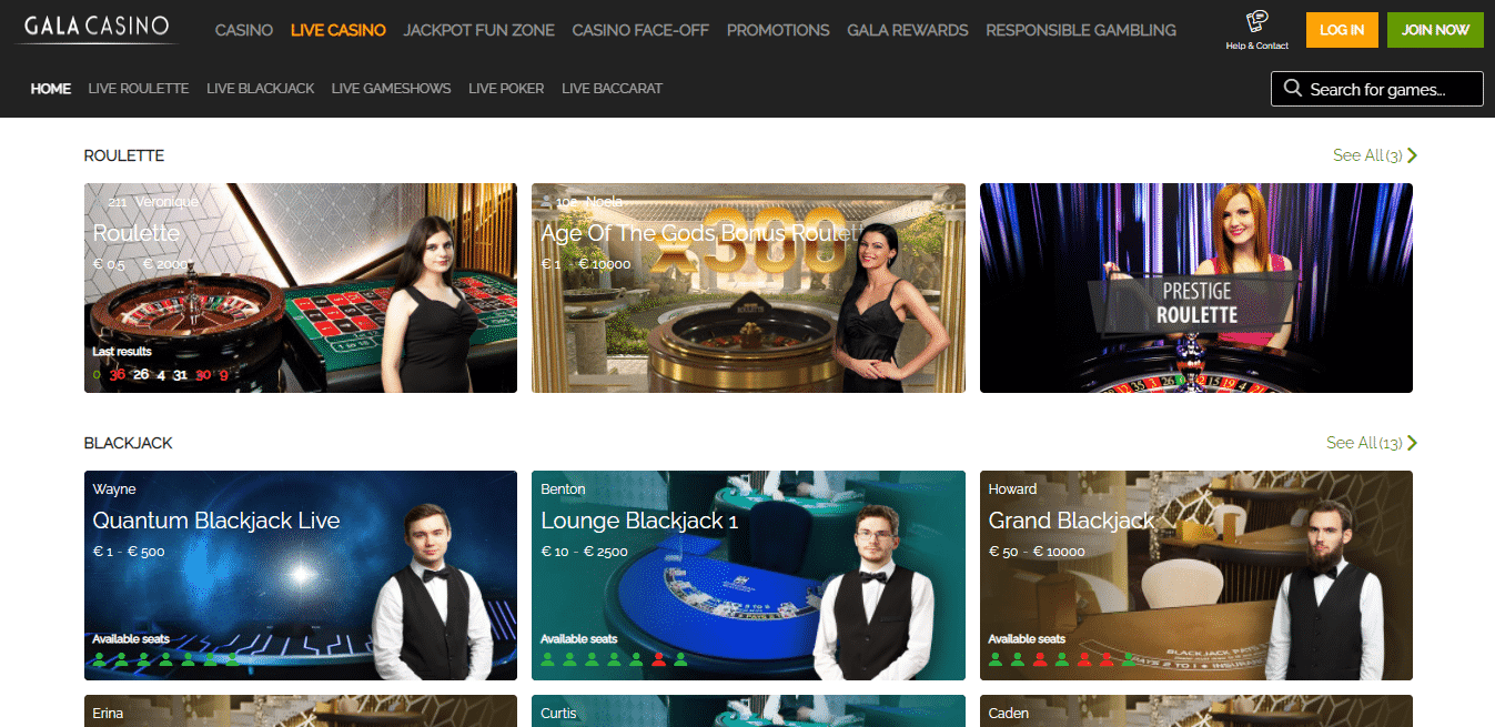 Gala Casino Live Casino