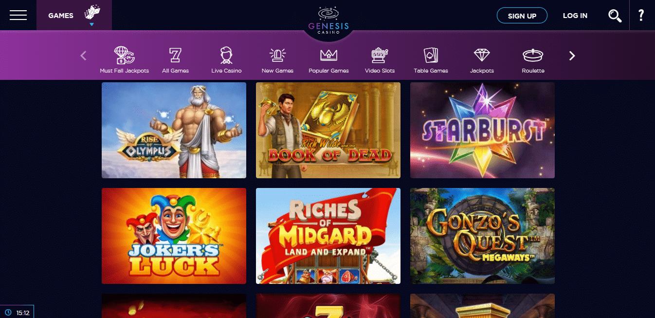 Genesis Casino Game Selection