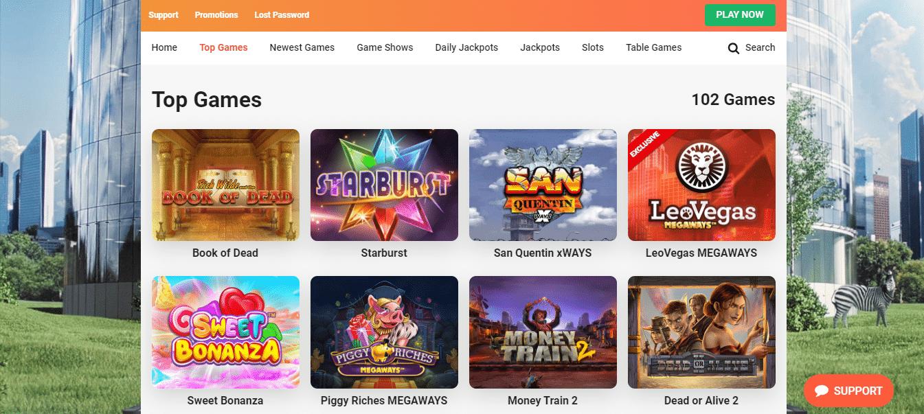 LeoVegas Game Selection