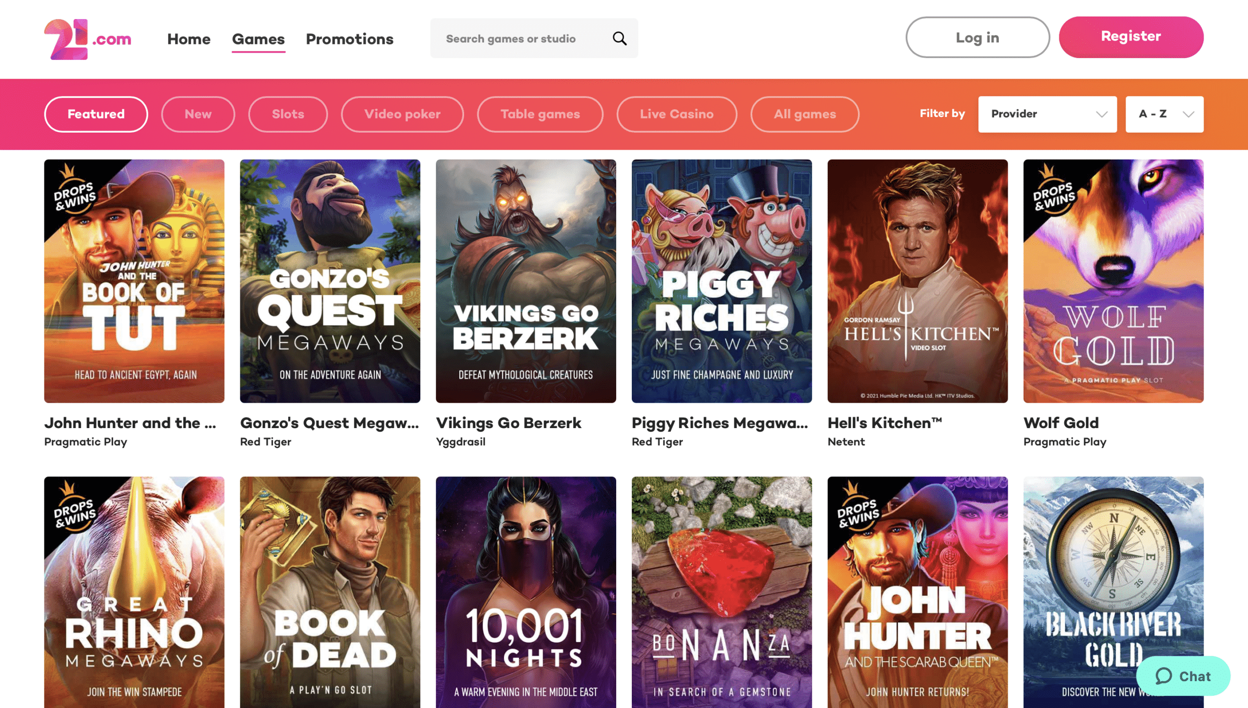 21.com Game Selection