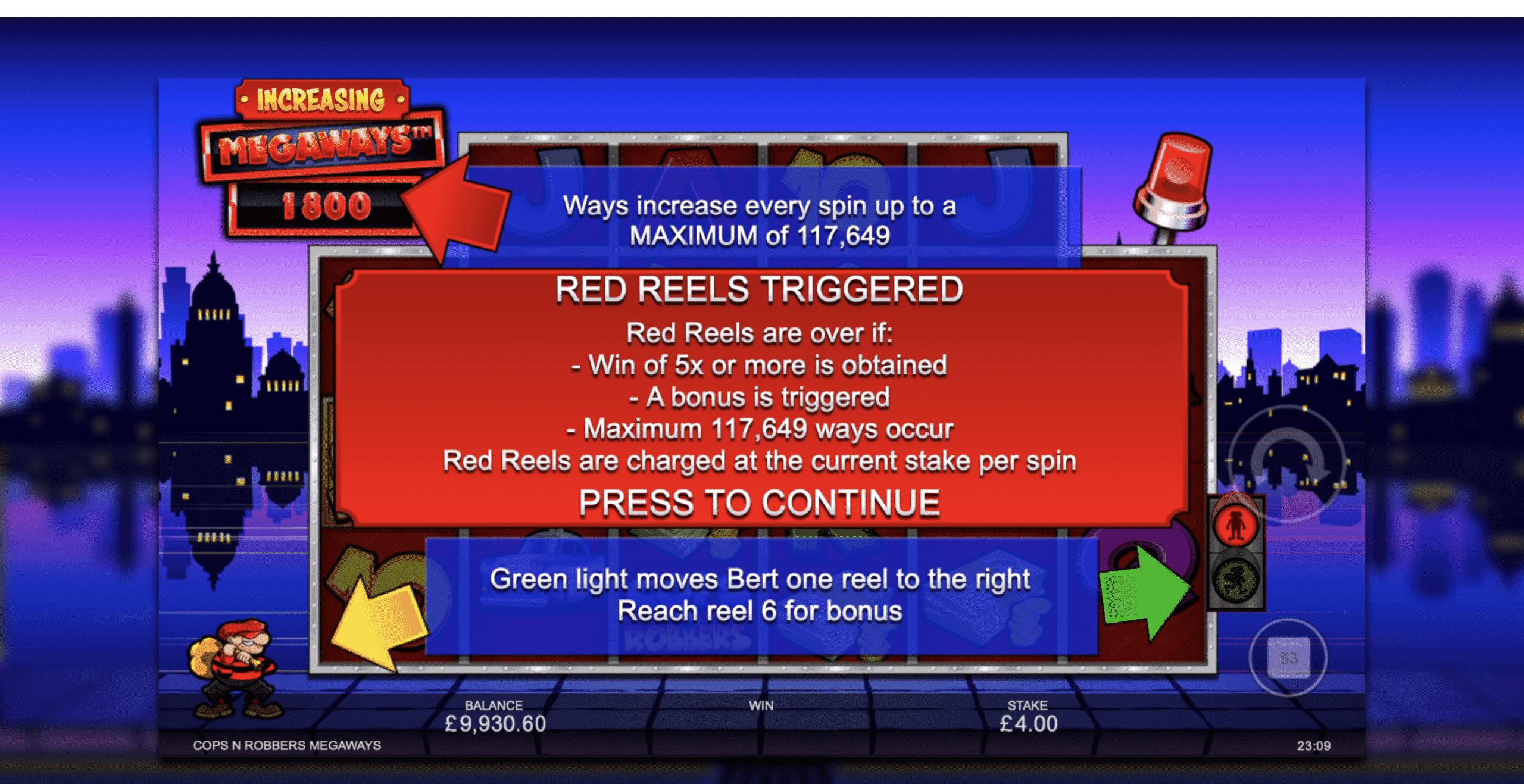 Cops 'n' Robbers Megaways Red Reels