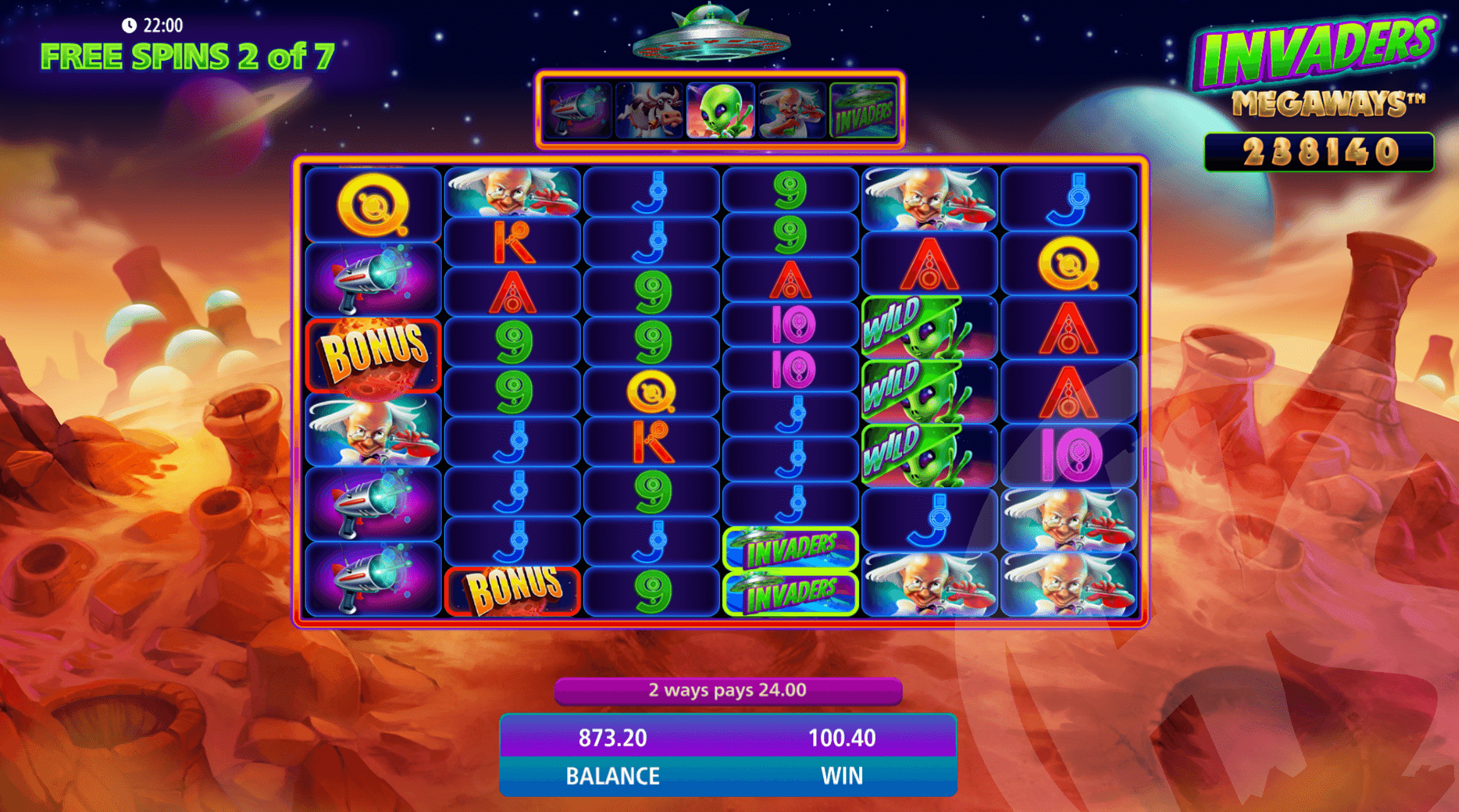 Alien Feature within Free Spins