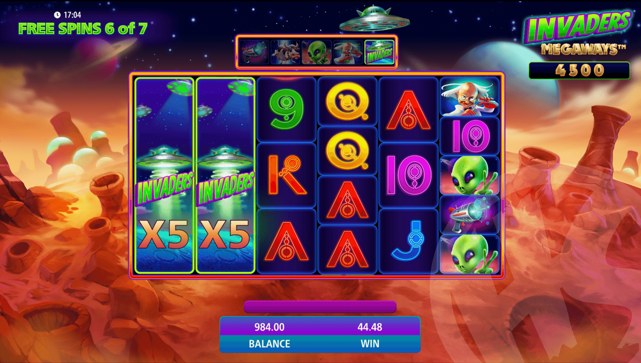 Invaders Logo Feature within Free Spins