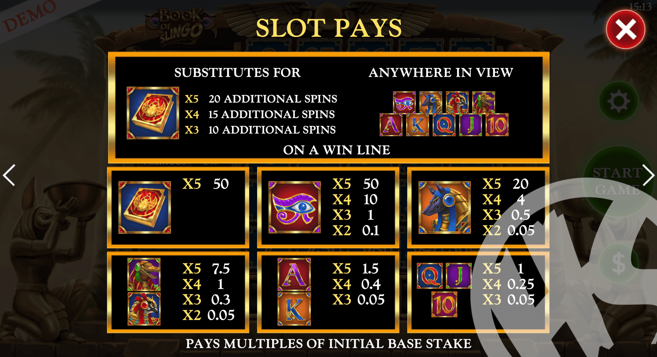 Book of Slingo Pay Table