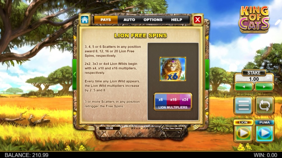 King of Cats Megaways Lion Free Spins