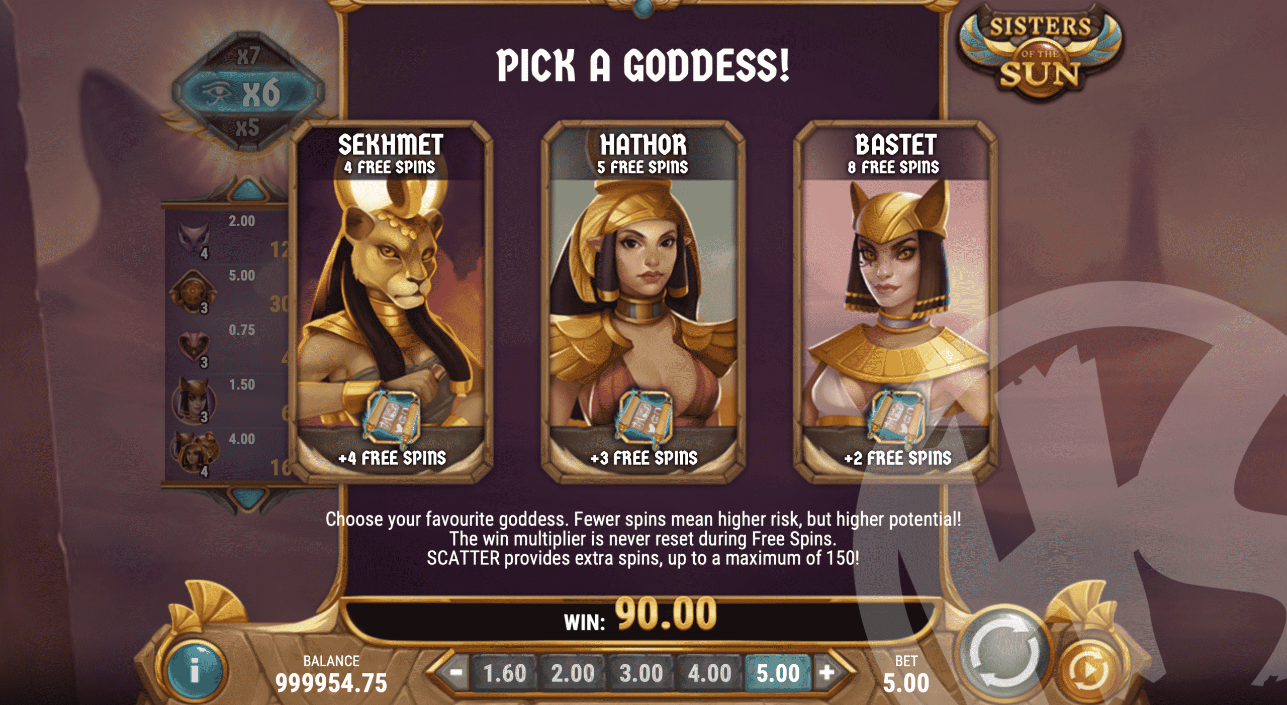 Choose Your Favourite Goddess For The Free Spins Feature