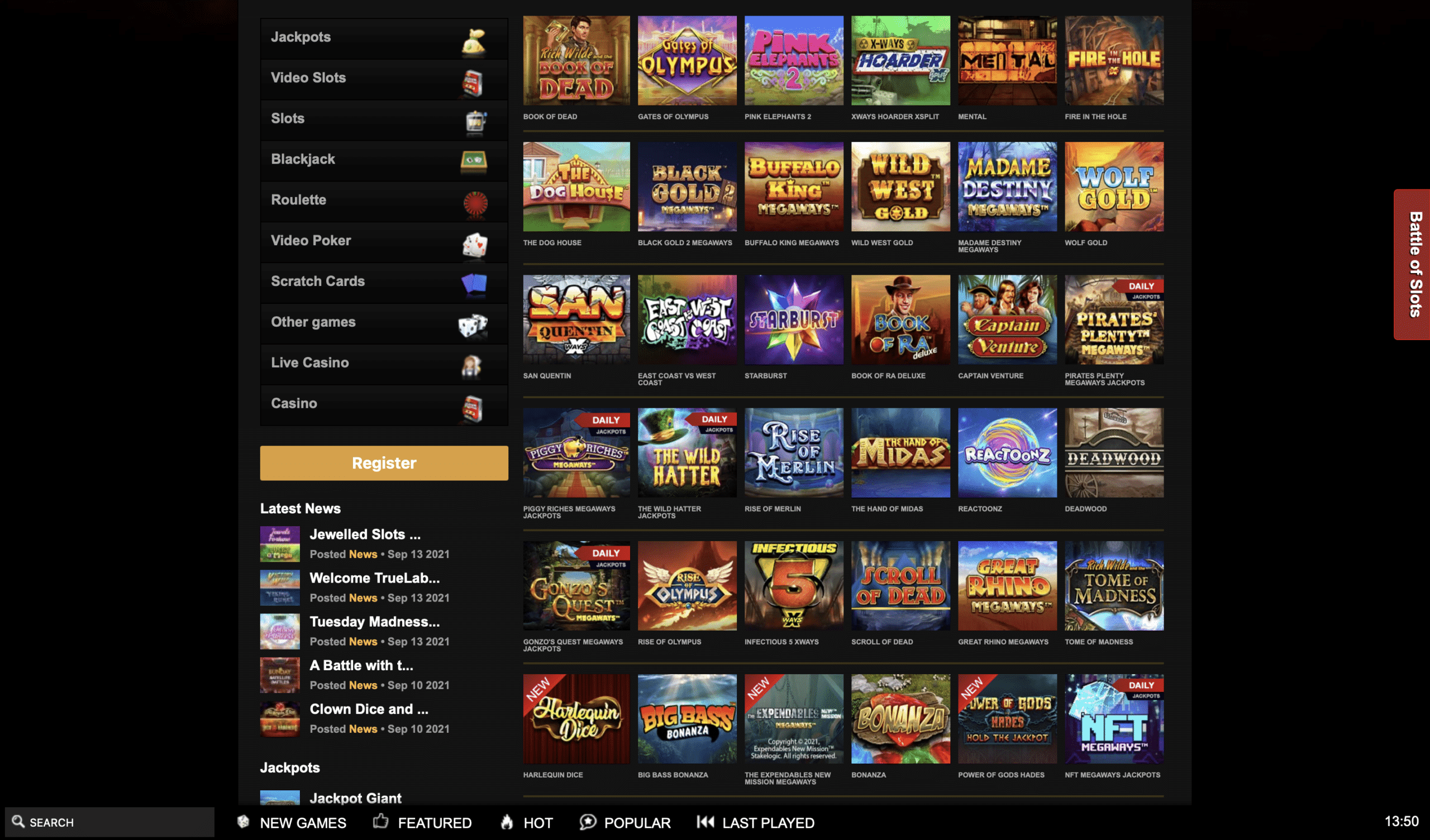 Videoslots Game Selection
