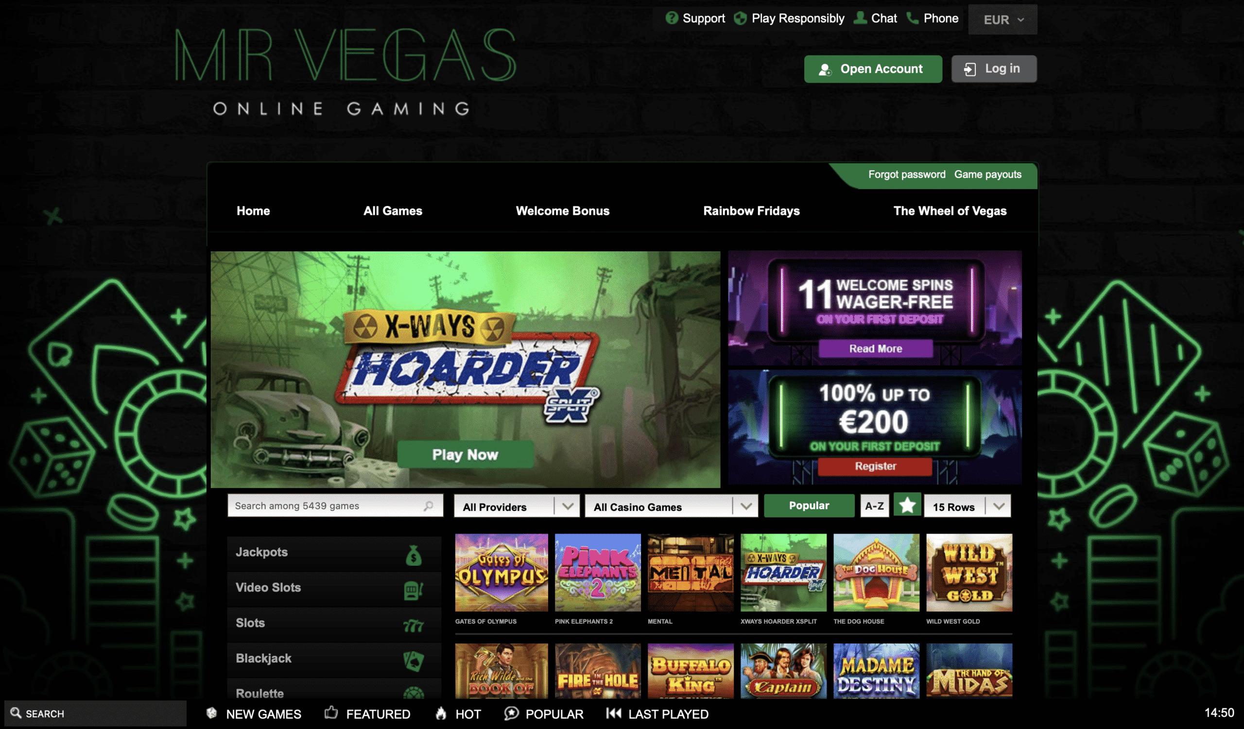 Mr Vegas Homepage