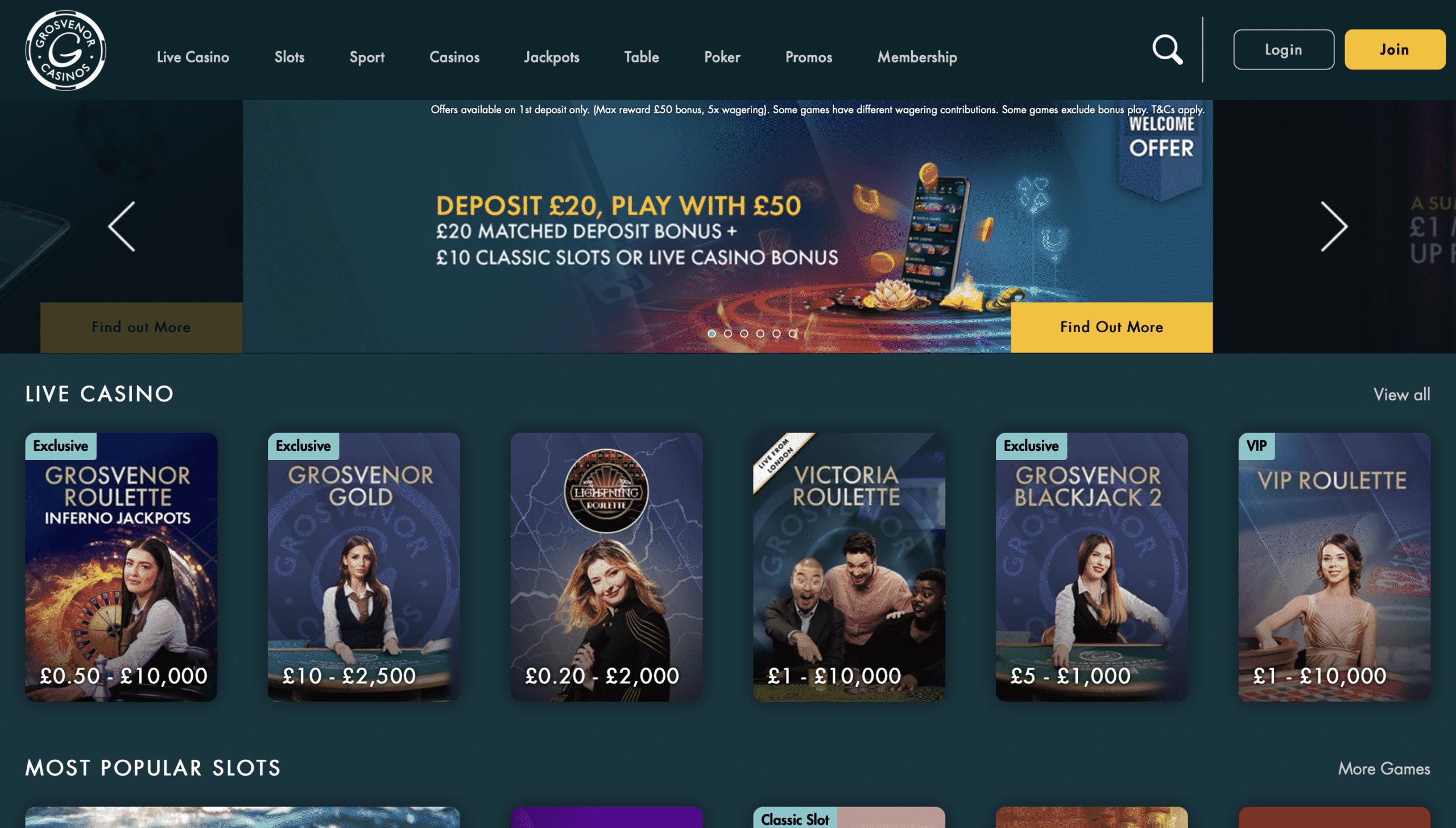 Grosvenor Casino Homepage
