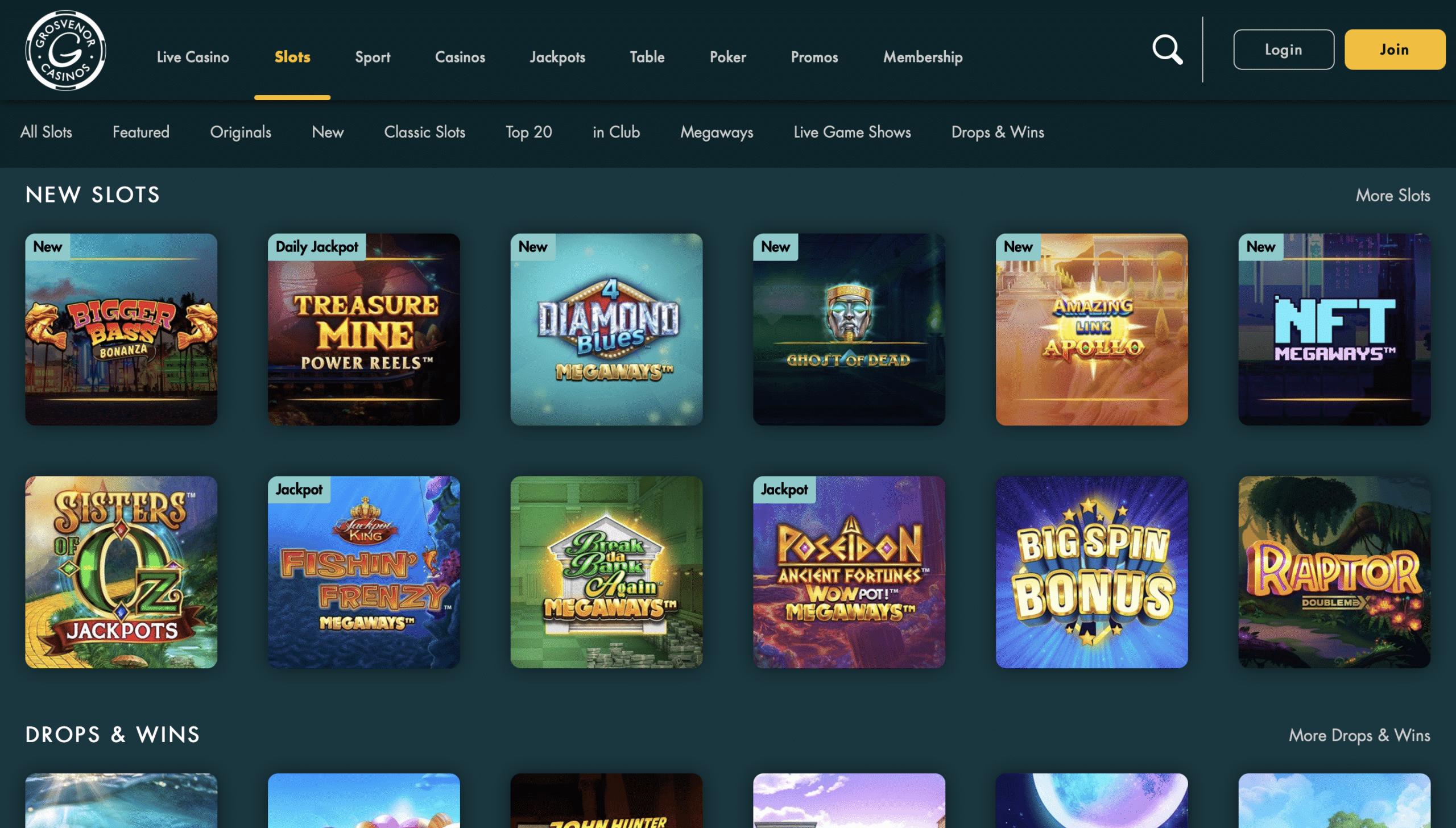 Grosvenor Casino Game Selection