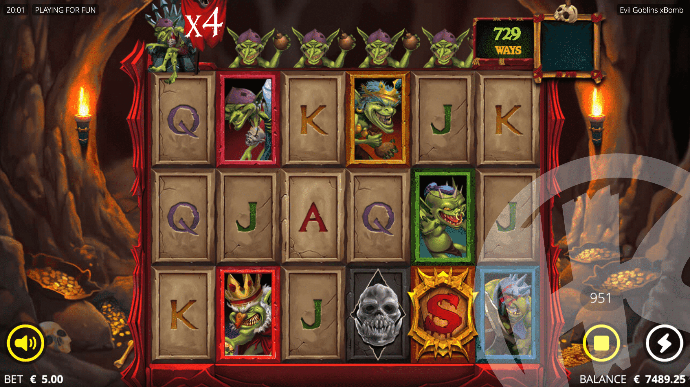 Match All 4 Goblins on Top of The Reels to Trigger the Evil 4 Feature