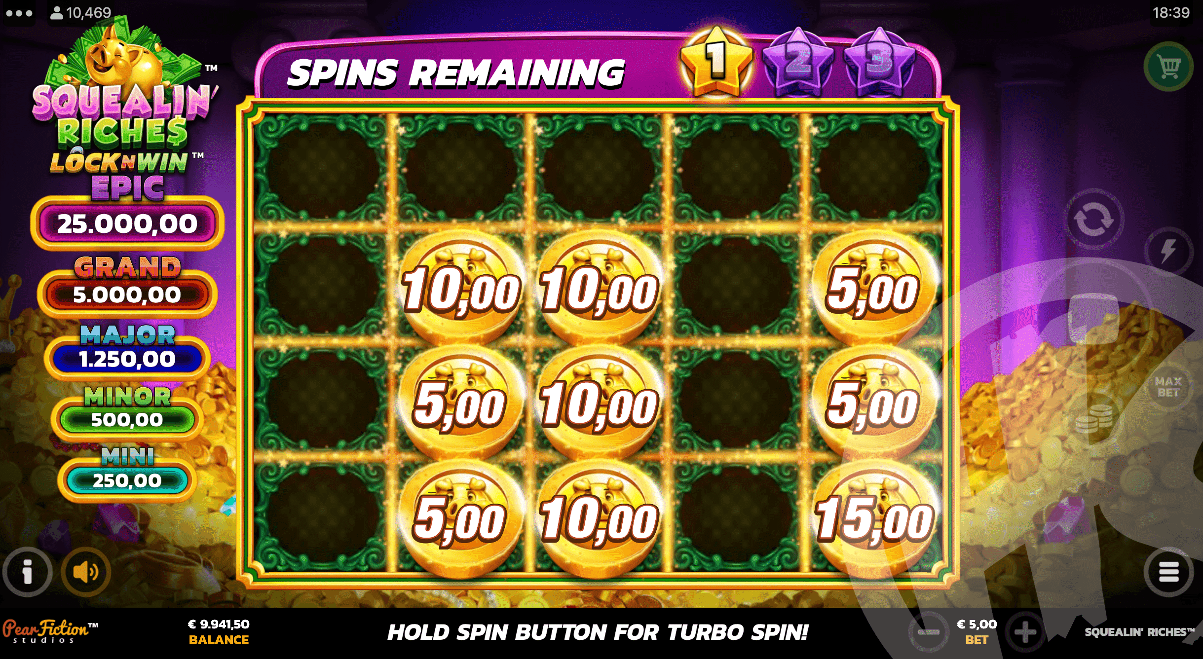 6 or More Bonus Symbols in View Triggers the LockNWin Respin Feature