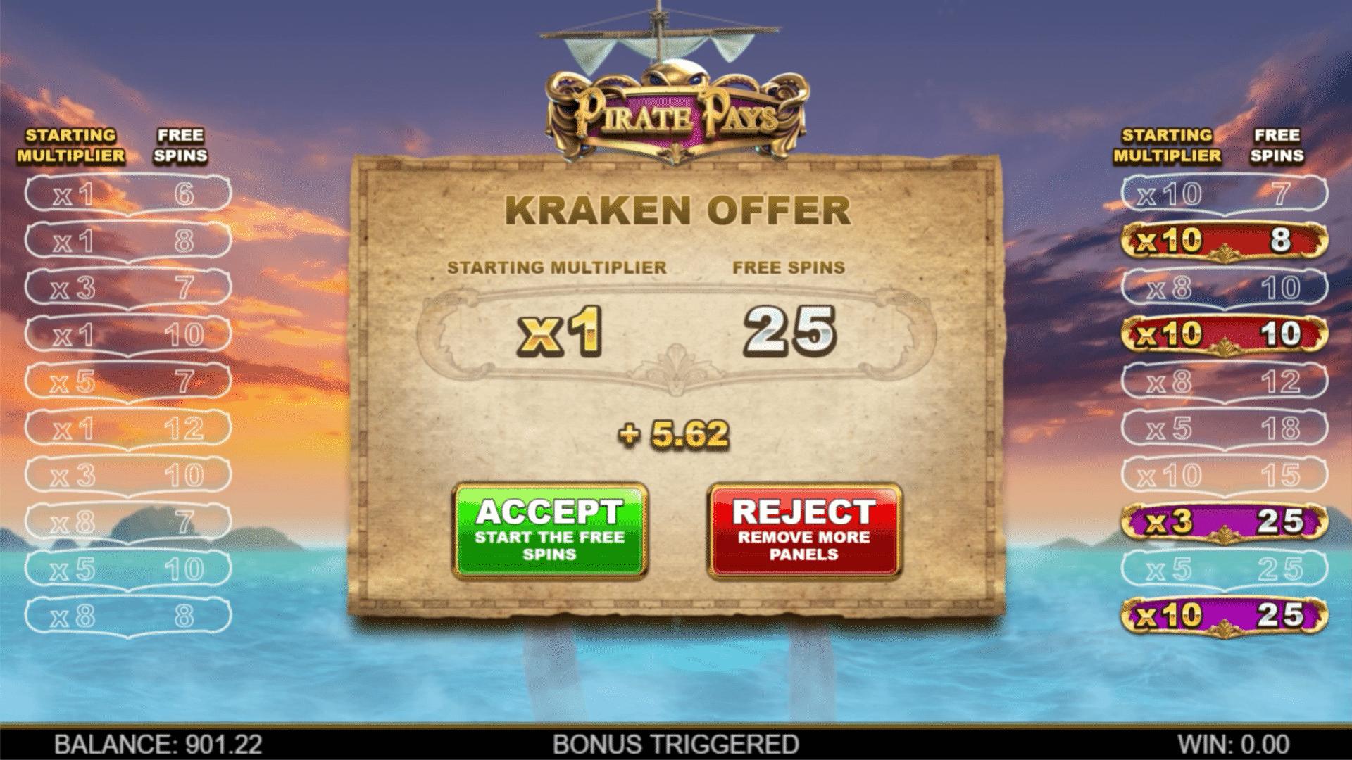 Pirate Pays Megaways Kraken Offer
